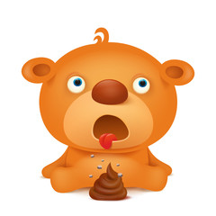 Teddy bear emoji character with bunch of poop