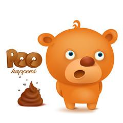 Teddy bear emoji character with bunch of poop