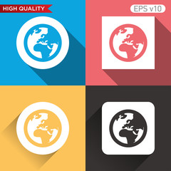 Earth icon. Button with planet icon. Modern UI vector.