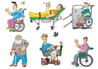 set of handicapped and patients - cartoon