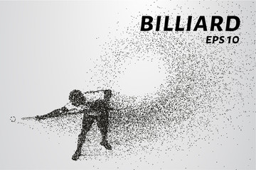 Billiards of particles. Silhouette of Billiards player consists of points and circles. Vector illustration