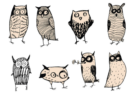 Set of cute and funny owls. Unusual original characters. Wild predatory night birds. Vector illustrations for child books, internet sites about wildlife and nature. Decorations. Wise, weird creations