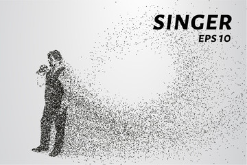 Singer from particles. The silhouette of the singer consists of dots and circles. Vector illustration