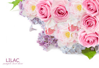 Roses, lilac flowers and tulips background isolated on white with sample text