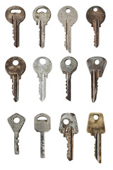 set of old door keys isolated on white background