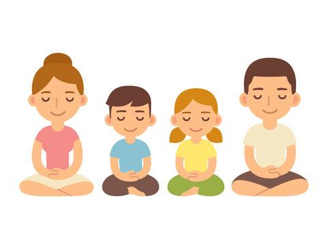 Family sitting in meditation.