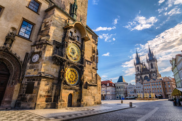 Prague old town square and Astronomical Clock Tower, Prague, Cze Wall mural
