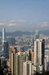 Skyline of Hong Kong in sunny weather as seen from the Victoria Peak.