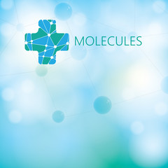 Abstract medical molecule green light background