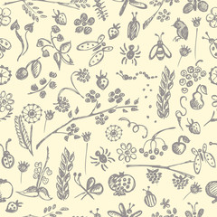 Seamless vector pattern, background with hand drawn cute insects, animals, fruits, flowers, leaves, decorative elements Hand sketch line drawing. doodle style Series of Hand Drawn seamless Patterns.