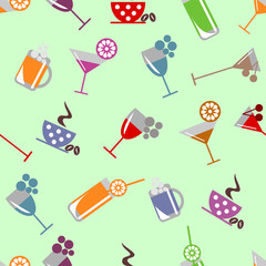 Seamless vector pattern with cocktail, glass, wine glass, beer glass, fruits on the grey background. Series of Food and Drink Seamless Patterns.