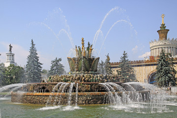 Russia. Moscow. Exhibition of Achievements of National Economy. The Stone Flower Fountain