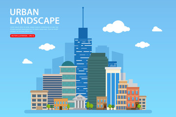 Urban landscape vector illustration. Flat modern design.