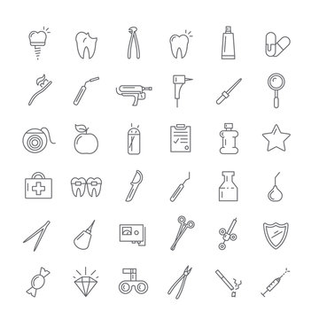 Icons with instruments for dentists.