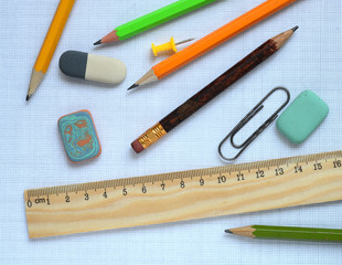Pencils and wooden ruler