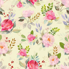Watercolor roses floral pattern