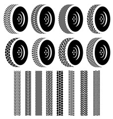 Set of Wheel with black tire tracks for Industry