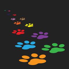 Colorful paw print icon vector illustration isolated on black background. Dog, cat, bear paw symbol flat pictogram.