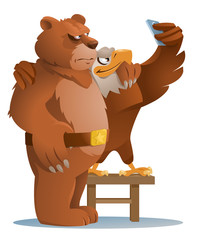 American eagle and Brown bear making selfie. Ordinary life of animals. No politics. Cartoon styled vector illustration. Elements is grouped.