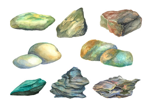 Illustration set of watercolor sea stones