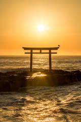Wall Mural - Japanisches Torii am Meer bei Sonnenaufgang