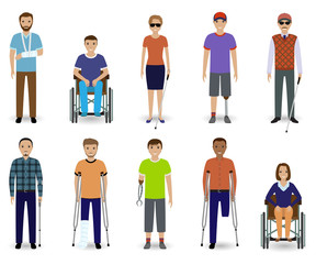 Set of ten disabled people characters. Disability concept. Group of male and female invalid men. Flat style vector illustration.