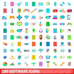 100 software icons set, cartoon style