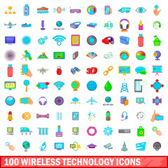 100 wireless technology icons set, cartoon style