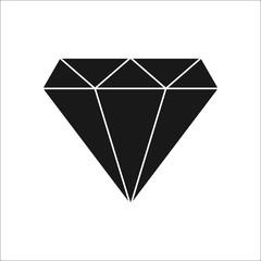 Diamond simple silhouette icon on background