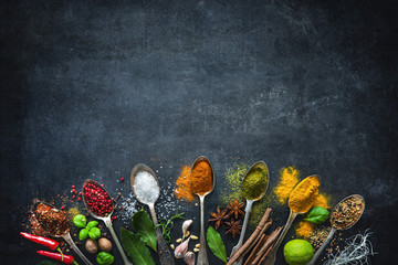 Fotorolgordijn Kruiden Various herbs and spices