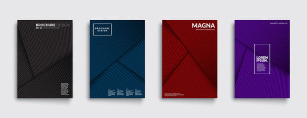 Futuristic covers set. Shapes overlap. Material design backgrounds. Eps10 layered vector.