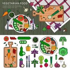 Vegetarian food on the table