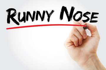 Hand writing runny nose with marker, concept background
