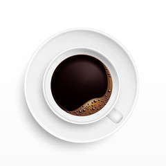 A Cup of Coffee and saucer, top view, realistic vector
