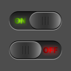 Black On-Off switch UI button vector template.