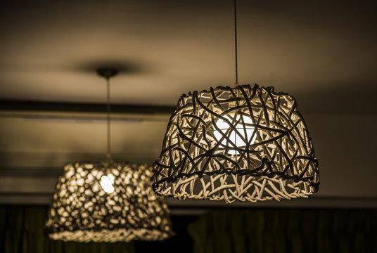 wicker chandelier made of wood