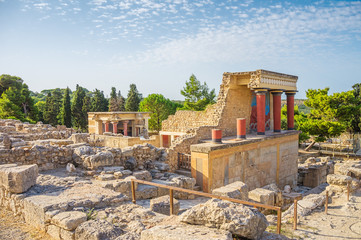 Recess Fitting Ruins Knossos Palace ruin in sunny day, Crete, Greece.
