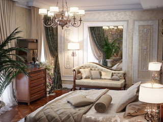 Luxury bedroom interior design in classic style. 3d rendering