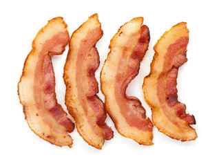 Set of 3 cooked slices of bacon isolated on white background top