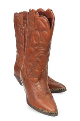 Women's fashion boots. Ladies vintage leather cowboy shoes. Isol