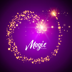 Vector magic glowing background with glitter light particles. Magic background design template