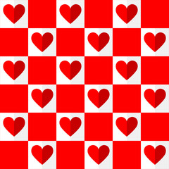 Vector Valentines day red hearts seamless pattern