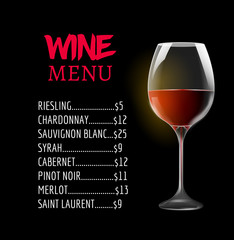 Wine menu card design template. Wine list template layout