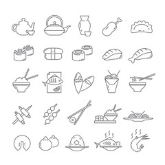 Icons with Asian food.