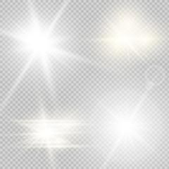 Glow light effect. Star burst . illustration. Set