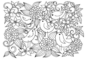 Chickens in garden. Floral pattern in black and white.