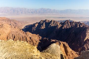 Desert canyon mountains rock cliffs gorge, Negev travel Israel.
