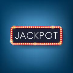 Jackpot, Neon light with Electric bulbs frame. Vector illustrati
