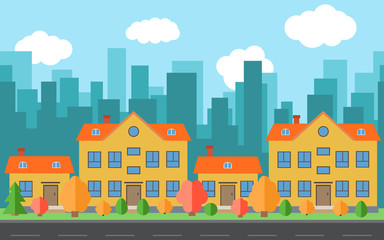Vector city with four cartoon houses and buildings. City space with road on flat style background concept. Summer urban landscape. Street view with cityscape on a background