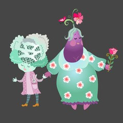 Cabbage and eggplant isolated on black background. Cute cartoon characters. Stylized grandma with child. Book illustration. greeting card. Vector image.